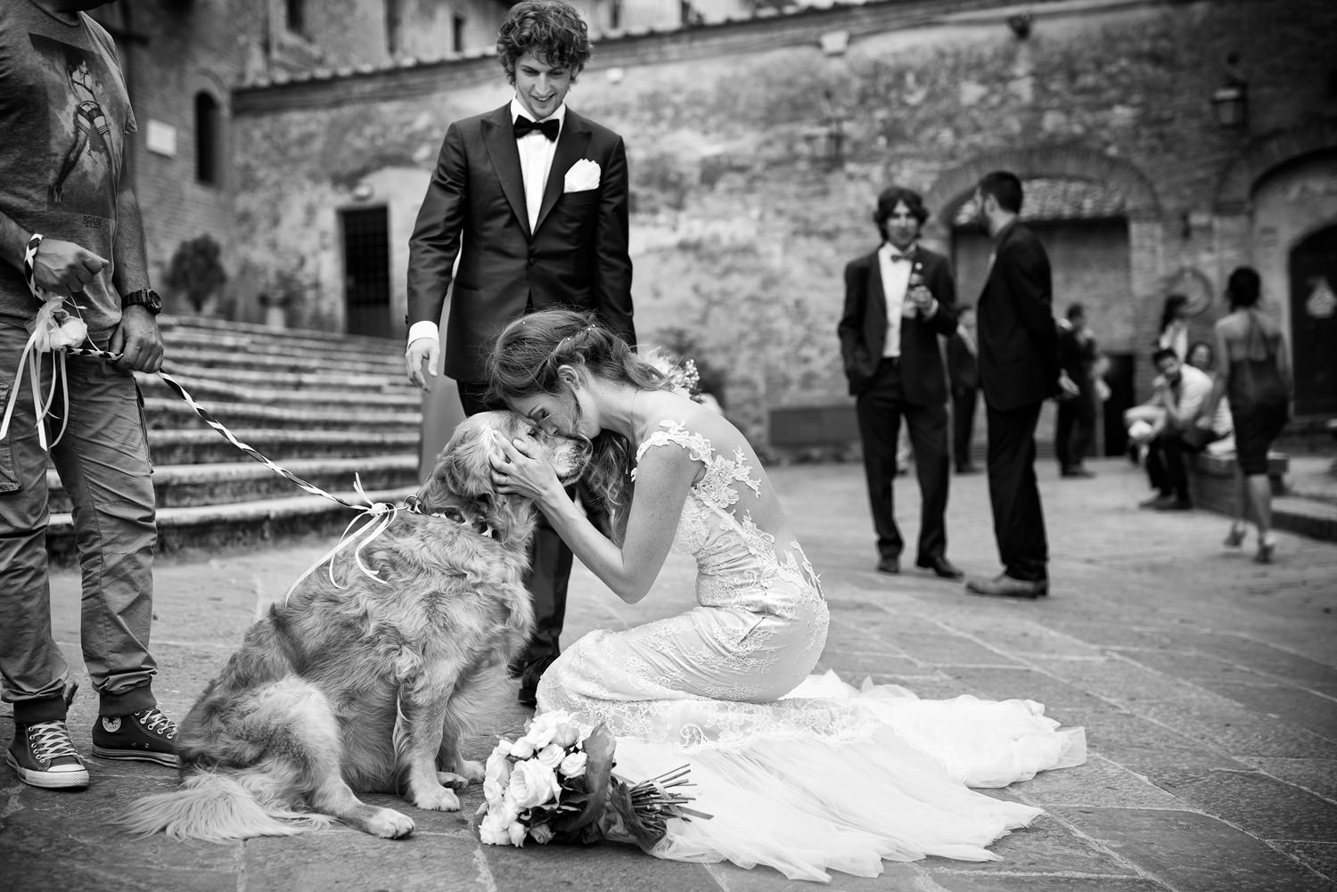 Amazing Dog at wedding. Golden retriever