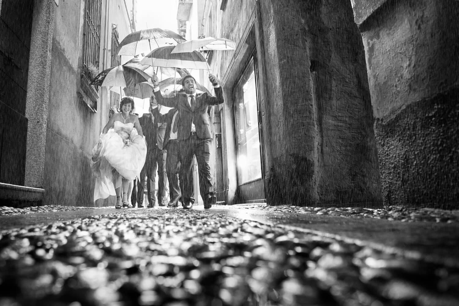 wedding rain. Lake d'Orta, Italy