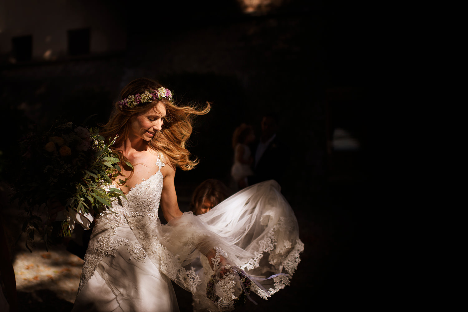 bride portrait in Tuscan sunset